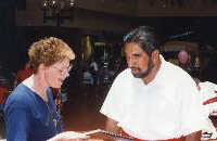 Claire with Aaron Mahi, The Royal Hawaiian Band